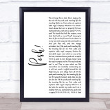 Lionel Jeffries Posh! White Script Song Lyric Music Gift Poster Print