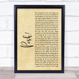 Lionel Jeffries Posh! Rustic Script Song Lyric Music Gift Poster Print