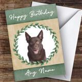 Australian Kelpie Dog Green Animal Customised Birthday Card