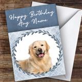 Golden Retriever Dog Blue Animal Customised Birthday Card