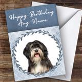 Tibetan Terrier Dog Blue Animal Customised Birthday Card