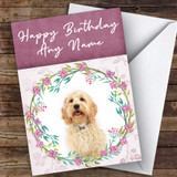 Cockapoo Dog Pink Floral Animal Customised Birthday Card