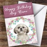 Shih Tzu Dog Pink Floral Animal Customised Birthday Card