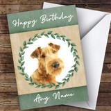Irish Terrier Dog Green Animal Customised Birthday Card