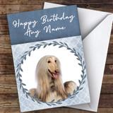 Afghan Hound Dog Blue Animal Customised Birthday Card