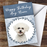 Bichon Frise Dog Blue Animal Customised Birthday Card