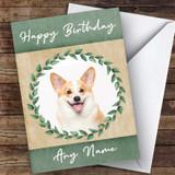 Welsh Corgi Dog Green Animal Customised Birthday Card