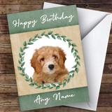 Cavapoo Dog Green Animal Customised Birthday Card