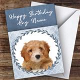 Cavapoo Dog Blue Animal Customised Birthday Card
