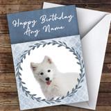 Samoyed Dog Blue Animal Customised Birthday Card