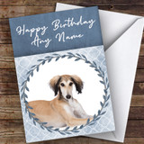 Saluki Dog Blue Animal Customised Birthday Card