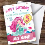 Customised Girls Birthday Card Mermaid 1St 2Nd 3Rd 4Th 5Th 6Th Granddaughter