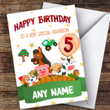 Customised Boys Birthday Card Farm Animals 1St 2Nd 3Rd 4Th 5Th 6Th Grandson
