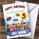 Customised Boys Birthday Card Superhero 1St 2Nd 3Rd 4Th 5Th 6Th Grandson