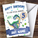 Customised Boys Birthday Card Dinosaur 1St 2Nd 3Rd 4Th 5Th 6Th Grandson