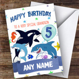 Customised Boys Birthday Card Sea Life 1St 2Nd 3Rd 4Th 5Th 6Th Grandson