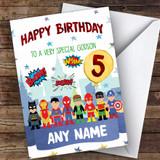 Customised Boys Birthday Card Superhero 1St 2Nd 3Rd 4Th 5Th 6Th Godson