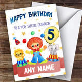 Customised Boys Birthday Card Circus 1St 2Nd 3Rd 4Th 5Th 6Th Grandson