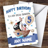 Customised Boys Birthday Card Pirate 1St 2Nd 3Rd 4Th 5Th 6Th Grandson