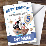 Customised Boys Birthday Card Pirate 1St 2Nd 3Rd 4Th 5Th 6Th Brother