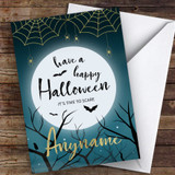 Full Moon Spooky Spiders At Night Customised Happy Halloween Card