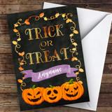 Trick Or Treat Evil Pumpkin Faces Customised Happy Halloween Card