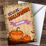 Spooky Poster Style Pumpkins Customised Happy Halloween Card