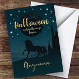 Spooky Unicorn Haunted House Customised Happy Halloween Card