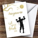 Fancy Gold Zombie Spooky Customised Happy Halloween Card