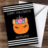 Cute Unicorn Pumpkin Customised Happy Halloween Card