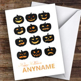 Scary Pumpkin Faces Customised Happy Halloween Card
