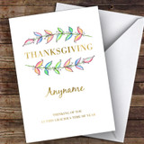 Thanksgiving Beautiful Watercolour Leaves Customised Happy Thanksgiving Card