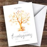 Beautiful Tree Eat Drink Thankful Orange Customised Happy Thanksgiving Card