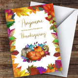 Thanksgiving Beautiful Squashes & Fox Customised Happy Thanksgiving Card