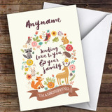 Beautiful Woodland Animals Wreath Customised Happy Thanksgiving Card