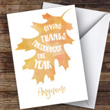 Watercolour Leaf Giving Thanks Customised Happy Thanksgiving Card