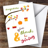 Thanksgiving Hanging Branches Customised Happy Thanksgiving Card