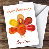 Watercolour Turkey Customised Happy Thanksgiving Card