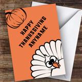 Bright Orange Customised Happy Thanksgiving Card