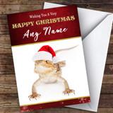 Bearded Dragon In Santa Hat Animal Customised Christmas Card