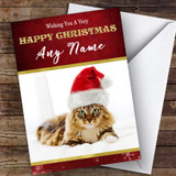 Fluffy Tabby Cat In Hat Animal Customised Christmas Card