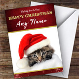 Kitten In Hat & Blanket Animal Customised Christmas Card