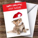 Blue Eyed Tabby Kitten Animal Customised Christmas Card