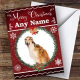 Borzoi Dog Traditional Animal Customised Christmas Card