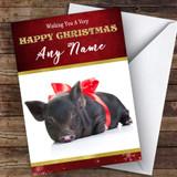Cute Baby Black Piglet Animal Customised Christmas Card