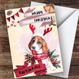 Watercolour Beagle Dog Animal Customised Christmas Card