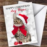 Cute Tabby Cat In Hat Animal Customised Christmas Card