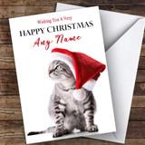 Grey Tabby Kitten Cat Animal Customised Christmas Card