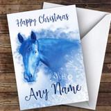 Blue Horse Snowflake Animal Customised Christmas Card