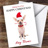 Chihuahua Candy Cane Animal Customised Christmas Card